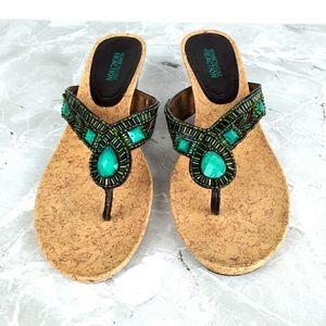 Kenneth Cole Boho Flip Flop Wedge Sandals